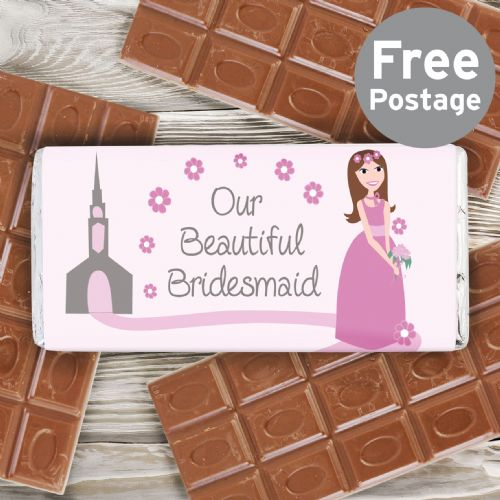Fabulous Bridesmaid Milk Chocolate Bar Gift Idea for Flower Girls and Bridesmaids